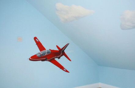 Hand Painted Airplane Mural