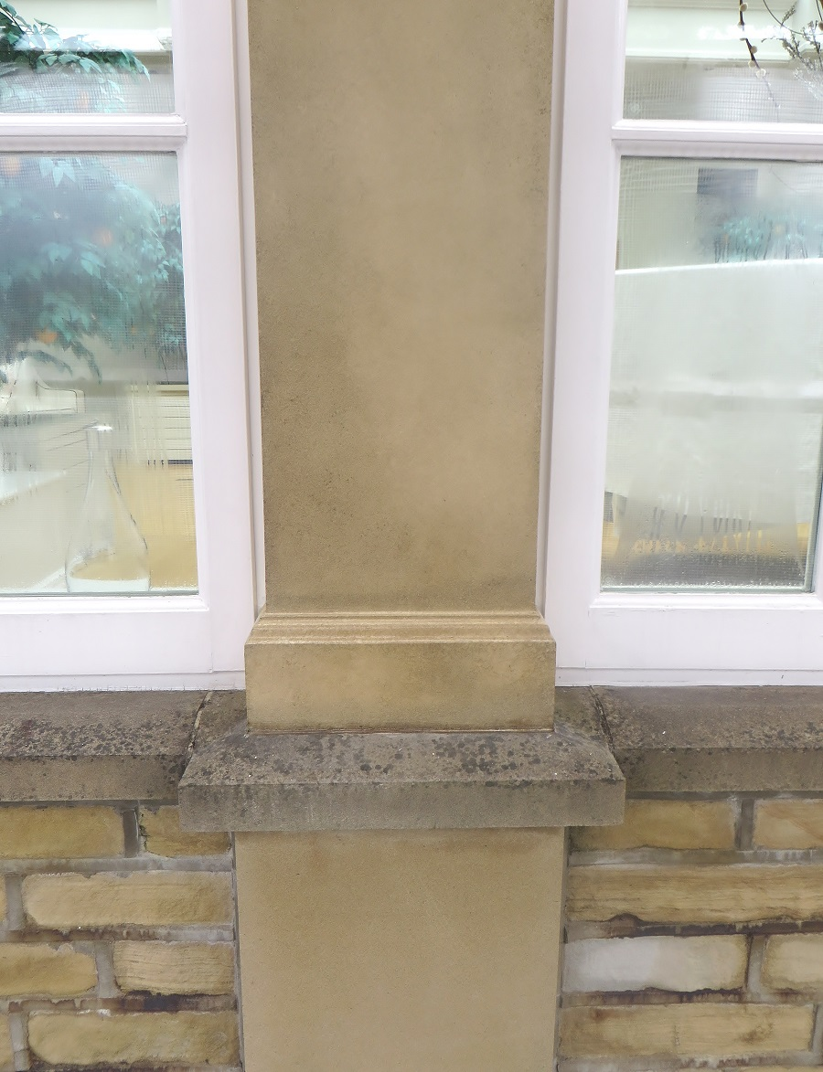 Picture showing the real stone (below the window sill) and my faux effect above