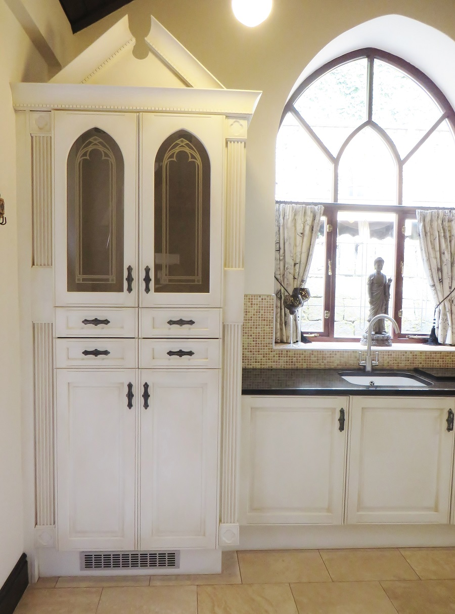 The completed kitchen cabinet with the paint effect bringing out all the lovely detailing