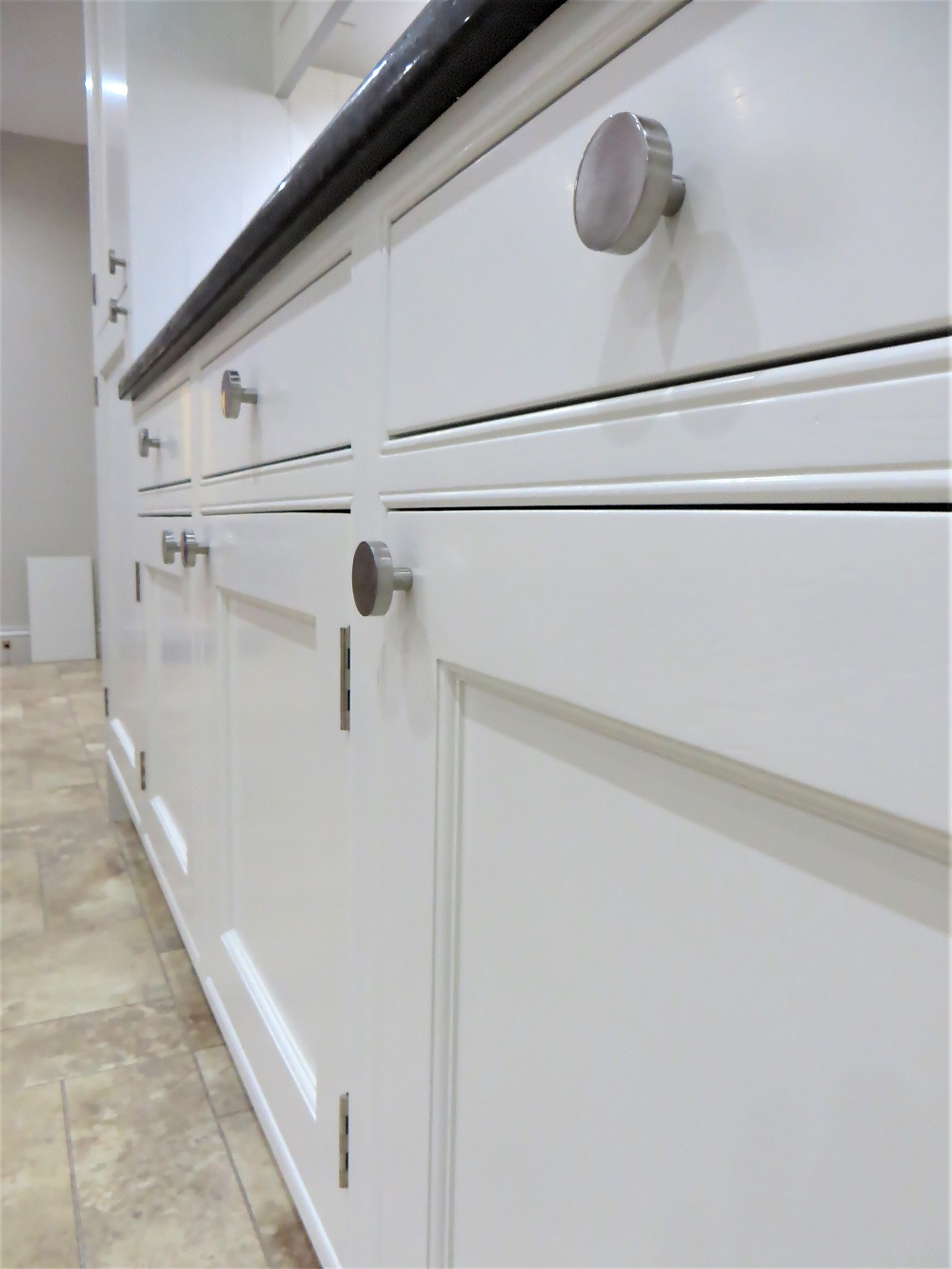 The new 'brushed satin' handles and hinges