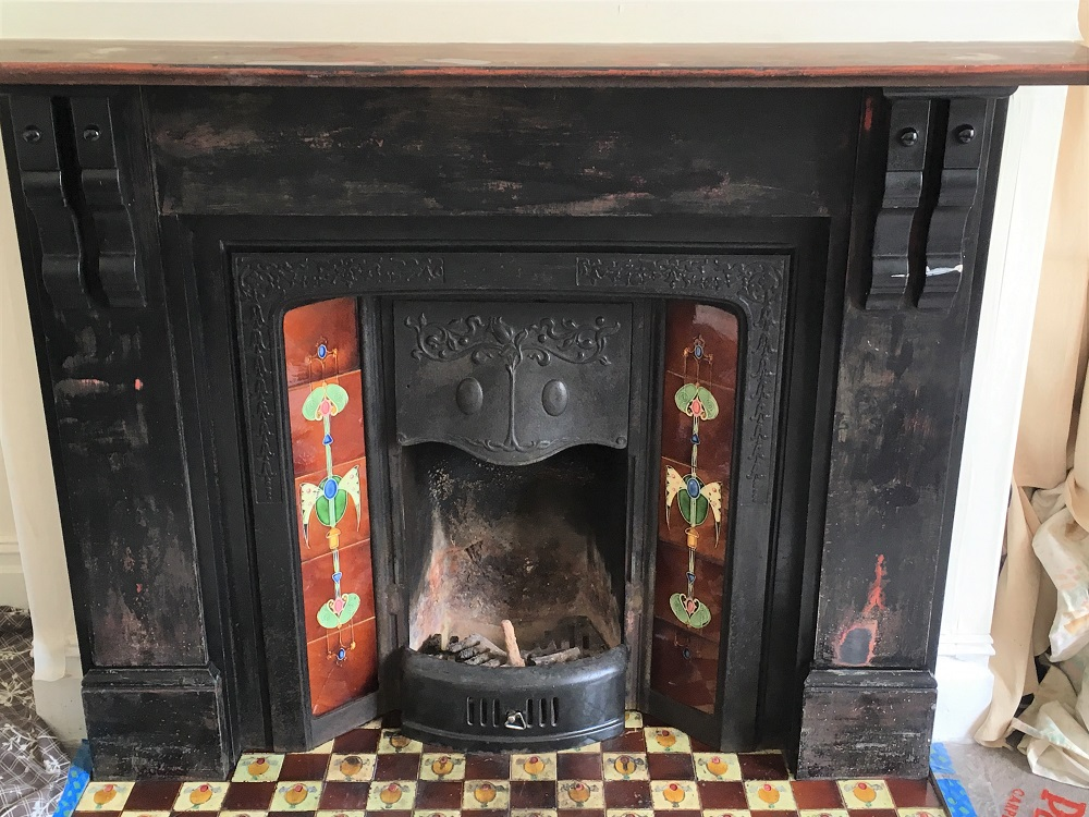The original condition of the fireplace