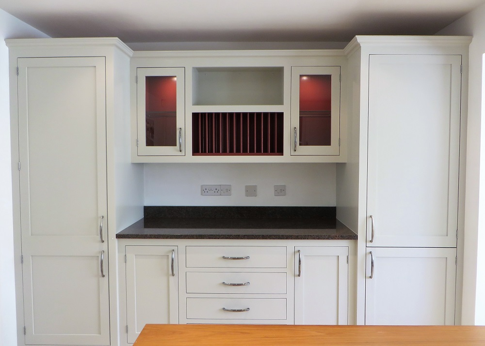 Part of the new look painted kitchen showing the '2-tone' detailing
