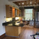 The laminate kitchen in Barkisland, before it was painted