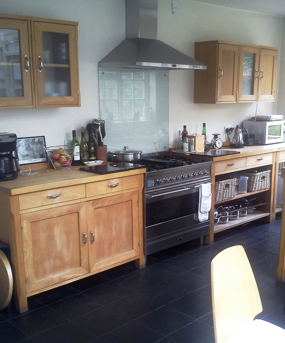 Before (the varnish had all but dissapeared and left this kitchen looking very worn)