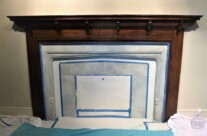 Painted Stone Effect Fireplace with Trompe L'oeil