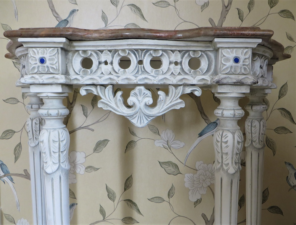 Close up of the more subtle french grey antiquing and light distressing
