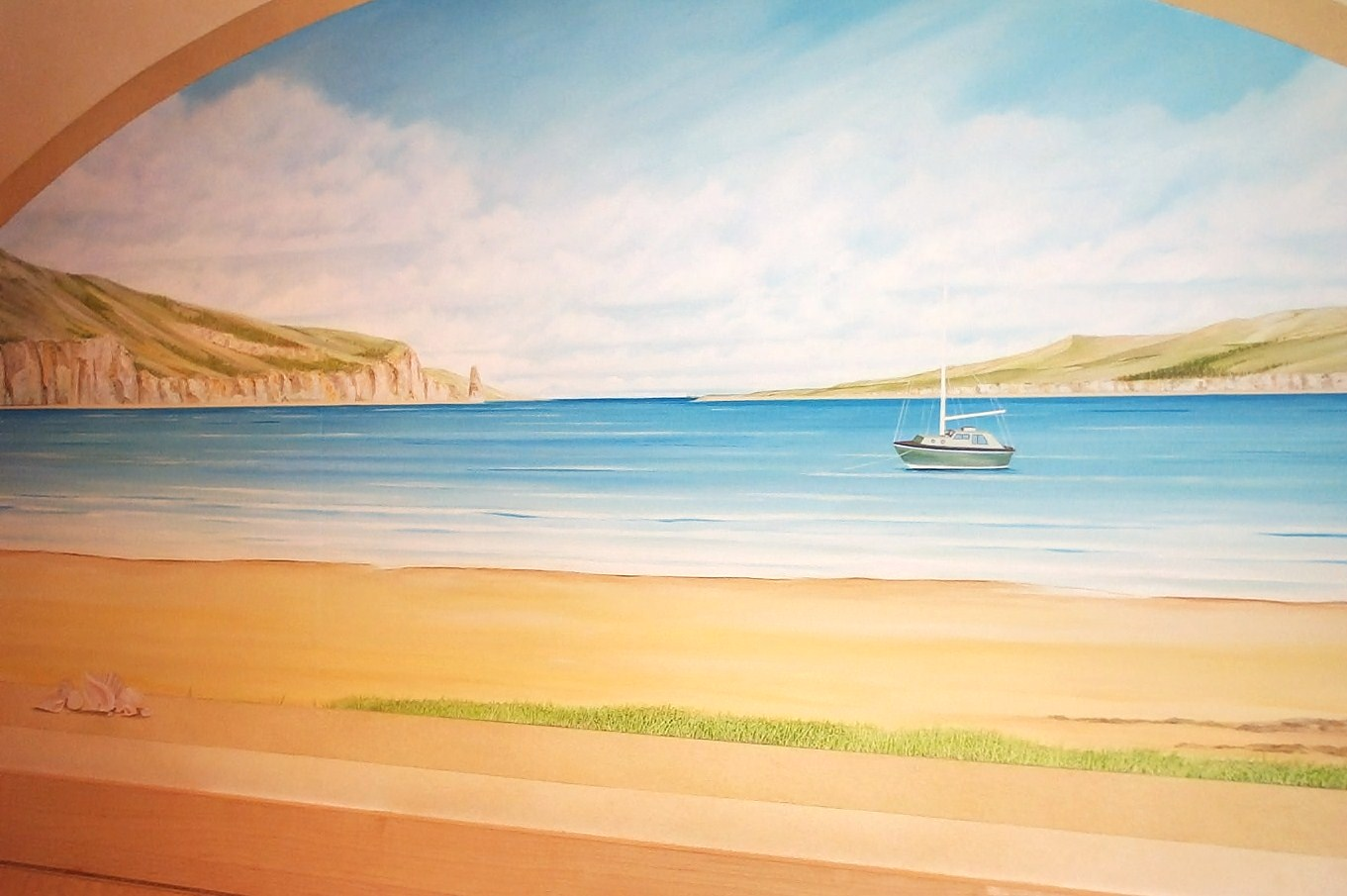 Hand Painted Beach Mural